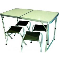 Стол + 4 стула Taiga 1812-1B (120х60х55/70см, алюмин. стулья ?22mm, ткань Oxford 1200x600D), в чехле